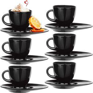 Kaffeetassen Teetassen mit Griff und länglicher Untertasse Set 6 Teilig klein Schwarz