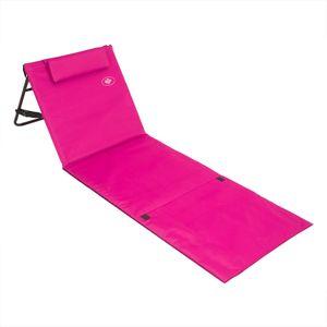 Deuba Strandmatte Gepolstert Kopfkissen Faltbar Verstellbare Rückenlehne Staufach Badematte Isomatte Strandtuch, Farbe:rosa
