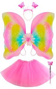Kostüm Schmetterling Set Verkleidung Kinder Rosa /Bunt 4 Elemente  Komplett Outfit 5335, Farbe:Bunt
