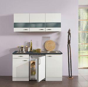 Singleküche mit Elektrogeräten Lagos 150 cm breit in weiß glänzend