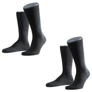 Falke Socken Set 2 Paar Herren Strümpfe Family Allround Einfarbig - Farbauswahl / Farbe: Schwarz | Größe: 43-46 (8.5-11 UK)