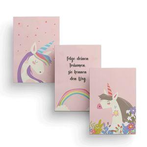 Friendly Fox Kinderzimmer Poster Babyzimmer - 3er Set Wandbilder - DIN A4 - Kinderposter (Unicorn)