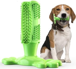 Hundezahnbürste Hundespielzeug Kauspielzeug Gummi Zahnreinigung Hunde Zahnbürste Stick Langlebig für Kleine Hunde Welpe Große Hunde, Hundezahnpflegespielzeug - Groß, Grün