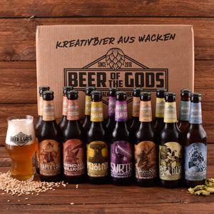 Wacken Brauerei Göttergabe Craft Beer Paket - 14 x Beer of the Gods 0,33l inkl. Craftbeer Glas - Craft beer Set - Geschenkset Bier Bierbox Bierglas Bierset