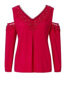 CRéATION L Damen Bluse mit Spitze, rot, Größe:50