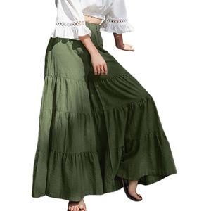 Damen Freizeithose Hohe Taille Weites Bein Ausgestellte Hose Culotte Lose Hosenkleid,Farbe:Grün,Größe:XXL