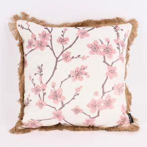 Deko Kissen Samtoptik Kirschblüten Fransenrand weiß rosa 45x45cm