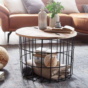 FineBuy Couchtisch Mango Massivholz Metall 60x43x60 cm Industrial Style Rund   Design Wohnzimmertisch mit Stauraum   Moderner Loungetisch Sofatisch