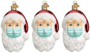 Weihnachtsmann Anhänger mit Maske  im Jahr 2021, Weihnachtsmann mit Maske, Weihnachtsbaumschmuck, personalisierter Weihnachtsmann von Ornament 2021, Weihnachtsdekoration, 2021 (3 Stück)