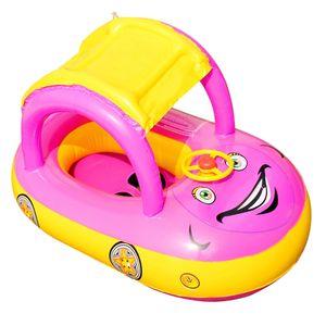 Aufblasbarer Schwimmsitz Sonnenschutz Baby Schwimmkreis Auto Form Schwimmring Lila
