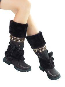 Damen Winter Warme Mid Snow Stiefel Pelz gefüttert Freizeitschuhe,Farbe: Schwarz,Größe:39