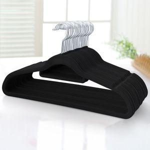 Yaheetech 100 Stück Kleiderbügel samt - mit Rutschfester Oberfläche Anzugbügel mit Krawattenhalter 360°drehbarer Haken schwarz Jackenbügel