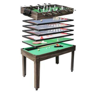 Tischkicker HWC-J15, Tischfußball Billard Hockey 7in1 Multiplayer Spieletisch, MDF 82x107x60cm  anthrazit-grau