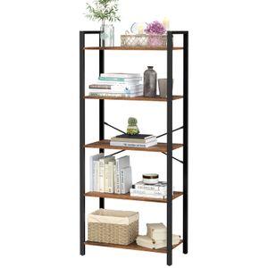 VASAGLE Bücherregal mit 5 Ebenen 153 x 66 x 30 cm Aufbewahrungsregal Industrie-Design Stahlgestell Holzspanplatten vintagebraun-schwarz LLS061B01