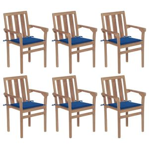 CLORIS® Stapelbare Gartenstühle/Gartensessel/Stapelstuhl Terrasse mit Kissen 6 Stk. Massivholz Teak 58 x 50 x 89 cm