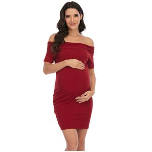 Ärmelloses, einfarbiges, rückenfreies, schulterfreies Kleid für Schwangere Größe:XXL,Farbe:Kupfer