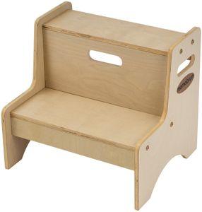 Zweistufiger Tritthocker für Kinder & Erwachsene aus Holz Ideal als Küchenhocker