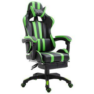 Gaming-Stuhl mit Fußstütze - Racing Schreibtischstuhl - Bürostuhl Grün Kunstleder