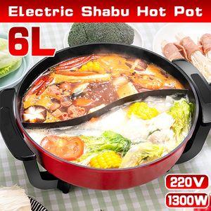 Hot Pot 6L Induktion Feuertopf Suppentopf Twin Shabu Kochgeschirr 220V 1300W DE
