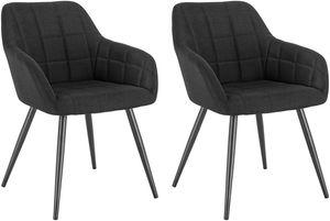 WOLTU 2er-Set Esszimmerstühle aus Leinen Modell Rita schwarz
