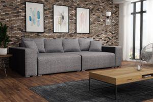 Big Sofa Couchgarnitur REGGIO Megasofa mit Schlaffunktion Schwarz-Grau