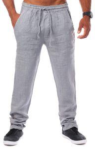 Young & Rich Herren Leinenhose Sommerhose 100% Leinen mit Kordelzug Straight Regular Fit S4103 , Grösse:XL, Farbe:Grau
