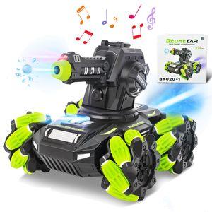 Ferngesteuerter Panzer Ferngesteuertes Auto mit LED Leucht Musik, kann Wasserbomben Schuss Drehbar RC Auto mit 1500 Stück Wasserbomben für Kinder ab 6 Jahre Grün Farbe