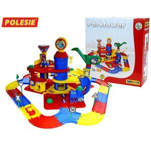 WADER Park Tower mit 3 Ebenen + Autos + Spielstraße Kinder Spielzeug Fahrzeug