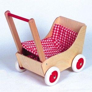 Holz-Puppenwagen karo rot/wss, 50cm, 1Stück