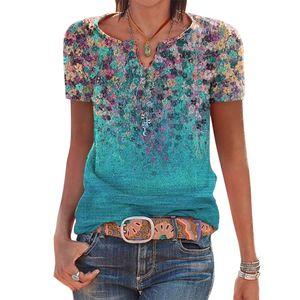 Frauen Kurzarm Sommer T-Shirts V-Ausschnitt Blumendruck Top Casual Bluse, Grün, L