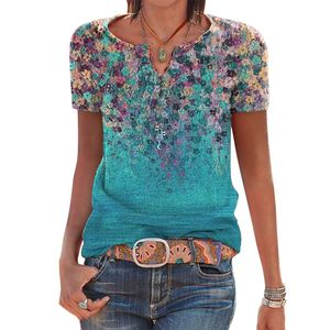 Frauen Kurzarm Sommer T-Shirts V-Ausschnitt Blumendruck Top Casual Bluse, Lake Green, L