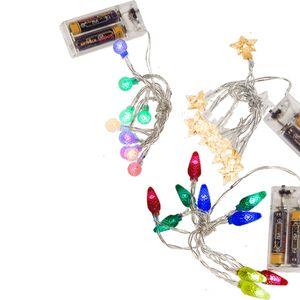 LED Lichterkette 10 LEDs 1,2m Batteriebetrieben Zapfen, Kugeln oder Sterne, Ausführung:Sterne