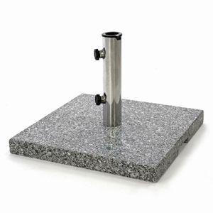 VCM Sonnenschirmständer 26 kg Granit grau eckig 45x45 cm Edelstahlhülse Standfüße
