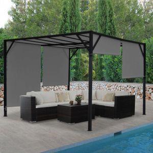Pergola Beja, Garten Pavillon Terrassenüberdachung, stabiles 6cm-Stahl-Gestell + Schiebedach grau  4x4m