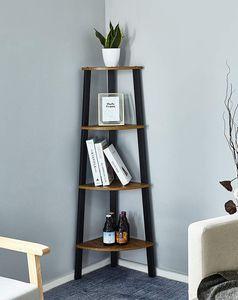 Meerveil Eckregal im Industrie-Design, Stabiles Metall für den Rahmen, Bücherregal, Standregale Leiterregal mit 4 Ebenen, Vintagebraun-schwarz