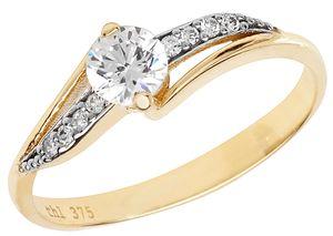 Edler 9 Karat (375) Gold Damen - Ring mit Zirkonia, 59 (18.8); WJS11262
