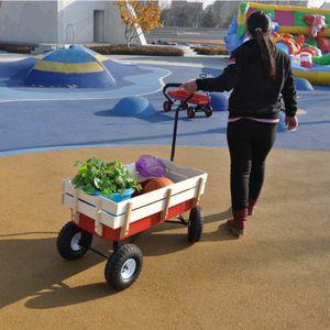 Strapazierfähig Groß Outdoor Wagon All Terrain Pulling mit Holzgeländer Luftreifen Kinder Kid Garden,DE(RotRot+Weiß)