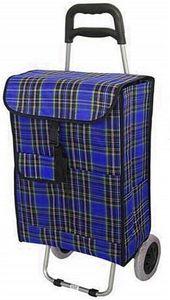 Einkaufstrolley KARIERT Einkaufsroller Einkaufswagen faltbar Trolley Blau