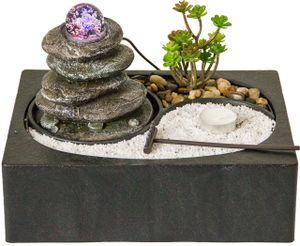 Zimmerbrunnen mit Zen-Garten, LED Beleuchtung, Tischbrunnen Steinturm