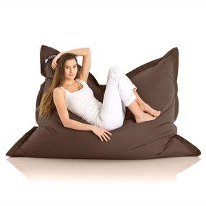 Original LAZY BAG Indoor & Outdoor Sitzsack XXL 400L Riesensitzsack Sitzkissen Sessel für Kinder & Erwachsene 180x140cm - Braun