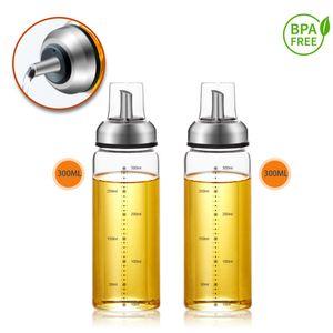 Ölspender Essigspender Tropffrei mit Skala Deckel Ölflasche Essigflasche Glas 2x 300ml