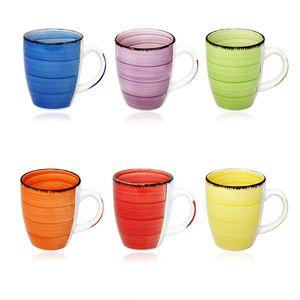 6er Set Kaffeetasse Kaffee Tee Milch Kakao Keramik Becher Tassen Pott Premium Porzellan Uni bunt Modernes Design ca. 350 ml in tollen Farben für Ihr liebstes Heißgetränk für Kaffee, Cappuccino und Latte Macchiato Bunt 45544 Tasse Geschenk