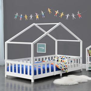 Kinderbett mit Rausfallschutz 90x200cm Hausbett mit Lattenrost und Gitter Bettenhaus aus Holz Spielbett Weiß [en.casa]