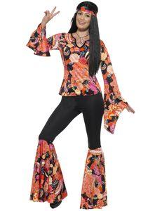Damen Kostüm 60er Jahre Hippie Blumenkind Karneval Fasching Gr.2XL