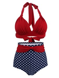 ydance Frauen Zweiteiliger Bikini-Set Badeanzug Hoher Taille Badebekleidung,Farbe:Rot Dunkelblau,Größe:M