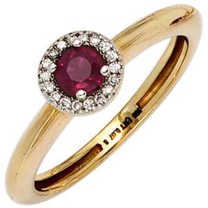 JOBO Damen Ring 585 Gold Gelbgold teilrhodiniert 18 Diamanten Brillanten 1 Rubin rot Größe 54