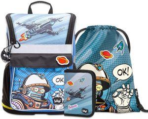 Baagl Schulranzen Jungen Set 3 Teilig - Zippy Schultasche ab 1. Klasse - Grundschule Ranzen mit Brustgurt - Ergonomischer Schulrucksack (Spaceman)