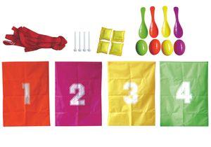 Kinder-Party-Set 22-teilig Spieleset Sackhüpfen Eierlauf Wurfkissen Kindergeburtstag Spiele