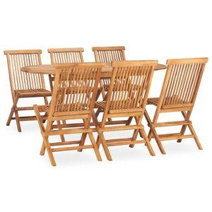 7-teiliges Outdoor-Essgarnitur Garten-Essgruppe Sitzgruppe Tisch + stuhl Klappbar Massivholz Teak