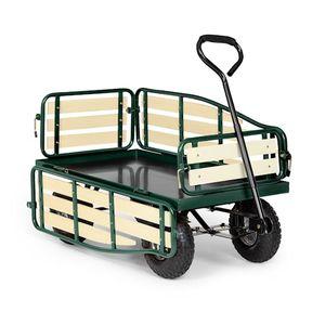 Waldbeck Ventura - Bollerwagen , Handwagen , abklappbare Seitenteile , witterungsbeständig , 300 kg Belastbarkeit , Transport Schwerer Lasten , Stabiler Rahmen , großer Laderaum , dunkelgrün